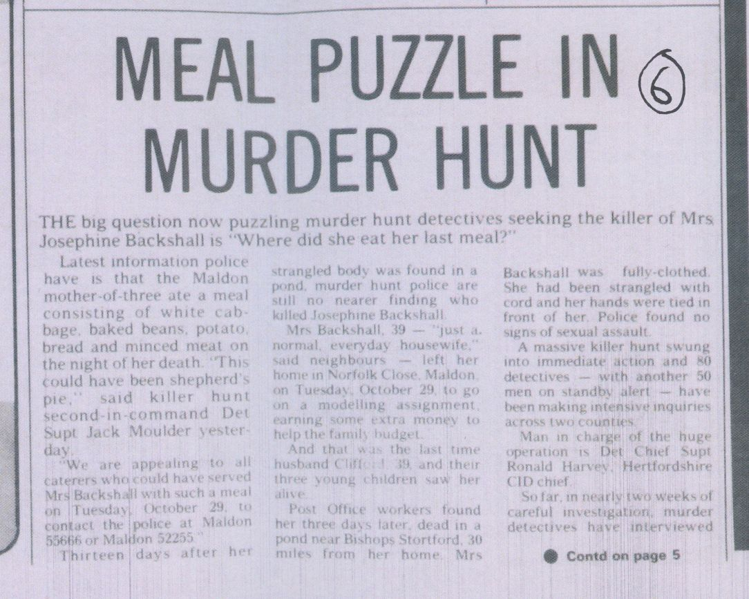Meal Puzzle in Murder Hunt