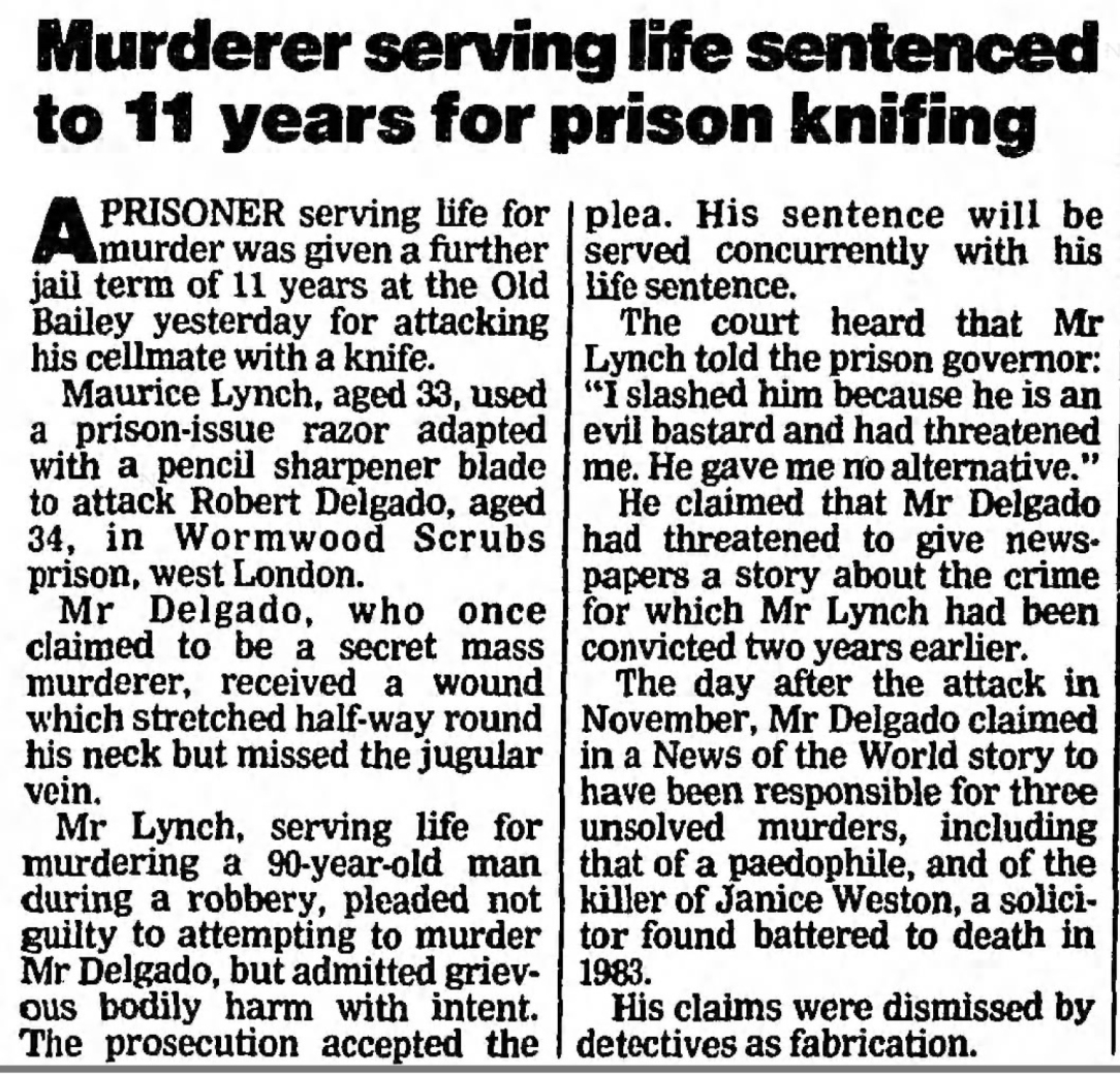 Delgado claimed to have killed Janice Weston's killer - Newspape